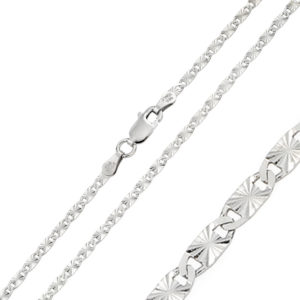 Wholesale Sterling Silver 925 Rhodium Plated DC Oval Flat Confetti 050 Chain 2.4mm