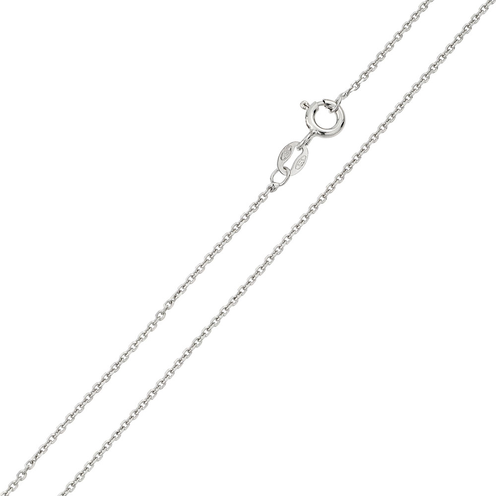 Black Ruthenium Plated over Sterling Silver 925 Diamond Cut Fine Anchor Cable Sparkle Chain NECKLACE Free Shipping Worldwide